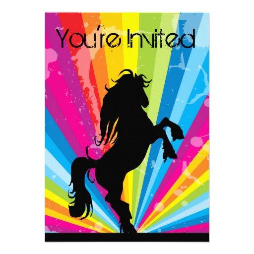 Regenbogen Techno Silhouette-Pferdegeburtstag Einladungskarte