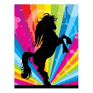 Regenbogen Techno Silhouette-Pferdepostkarte Postkarten