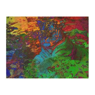 Regenbogen-Tiger Holzwanddeko