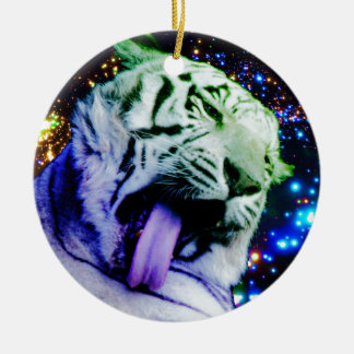 Regenbogen-Tiger Keramik Ornament