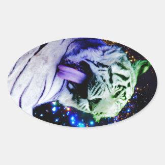 Regenbogen-Tiger Ovaler Aufkleber