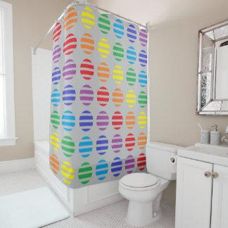 Regenbogen-Tupfen-und Streifen-Silber Duschvorhang