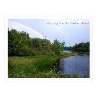 Regenbogen über Bar-Hafen, Maine Postkarte