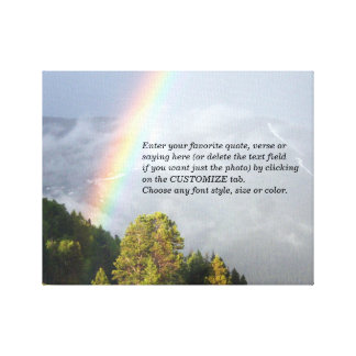 Regenbogen über Colorado-Bergspitze mit Ihrem Text Leinwanddruck