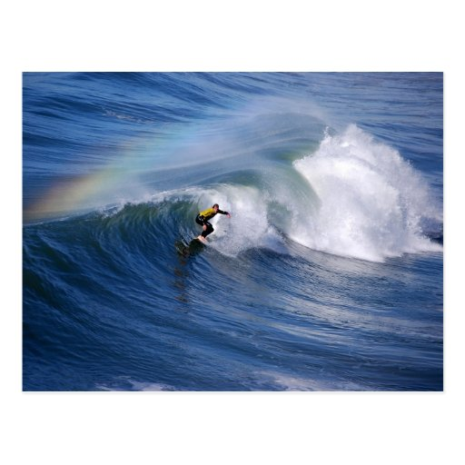 Regenbogen über einer Kalifornien-Surfer-Postkarte