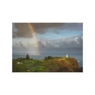 Regenbogen über Kilauea Leuchtturm-Leinwand Leinwanddruck