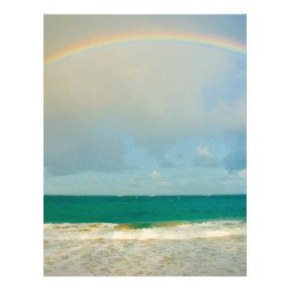 Regenbogen über Ozean Flyer Druck