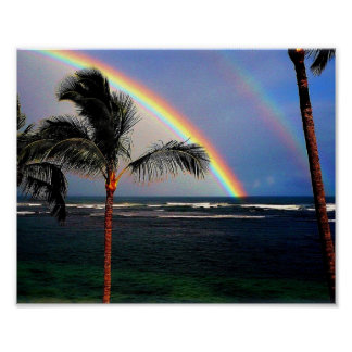 Regenbogen über Ozean Poster