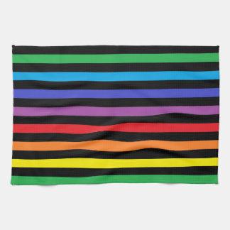 Regenbogen und Schwarz-Streifen-Geschirrtuch Handtücher