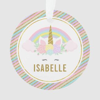 Regenbogen-und Unicorn-Foto-Weihnachtsverzierung Ornament