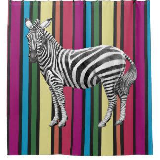 Regenbogen und Zebras Duschvorhang