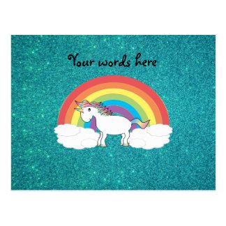 Regenbogen Unicorn-Türkis-Glitter Postkarten