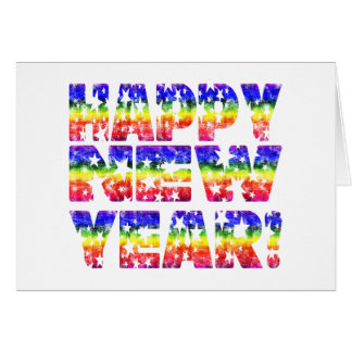 Regenbogen-Vintages glückliches neues Jahr! Karte