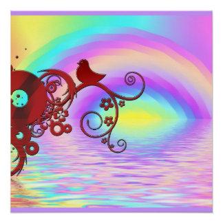 Regenbogen-Vogel-Tiernatur-Friedensbüro-Schicksal Poster