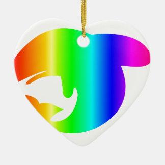 Regenbogen-Wal Keramik Ornament