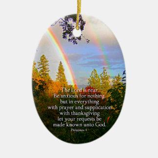 Regenbogen-Waldchristlicher Scripture-Bibel-Vers Keramik Ornament