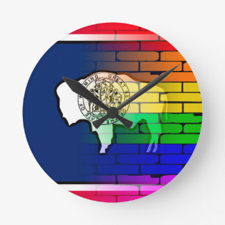 Regenbogen-Wand Wyoming Runde Wanduhr