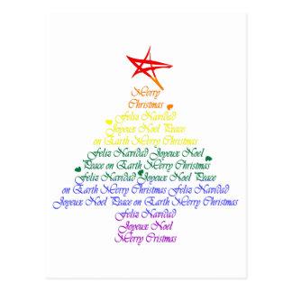 Regenbogen-Weihnachtsbaum Postkarte