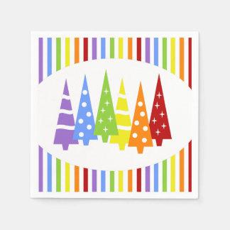 Regenbogen-Weihnachtsbäume Serviette