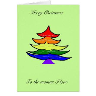Regenbogen-Weihnachtsbaumkarte Karte