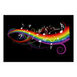 Regenbogen-weißes Musiknoten-Plakat