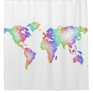 Regenbogen-Weltkarte Duschvorhang