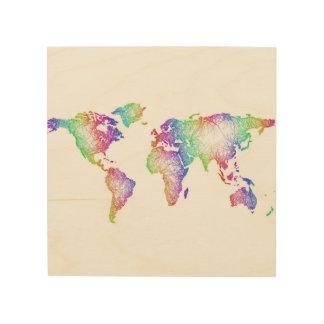 Regenbogen-Weltkarte Holzleinwand