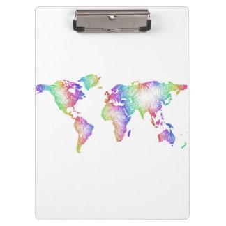 Regenbogen-Weltkarte Klemmbrett