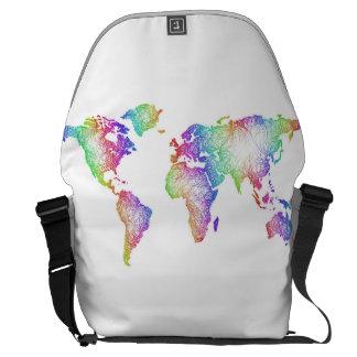 Regenbogen-Weltkarte Kurier Tasche