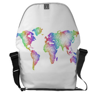 Regenbogen-Weltkarte Kuriertasche