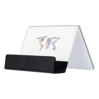 Regenbogen-Weltkarte Schreibtisch-Visitenkartenhalter