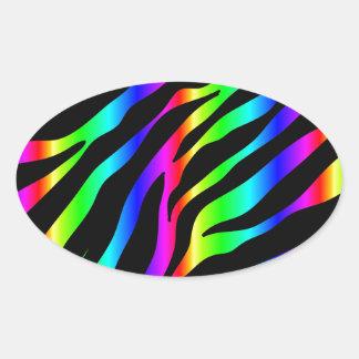 Regenbogen Zebra Ovaler Aufkleber