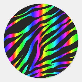 Regenbogen Zebra Runder Aufkleber
