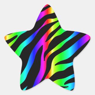 Regenbogen Zebra Stern-Aufkleber