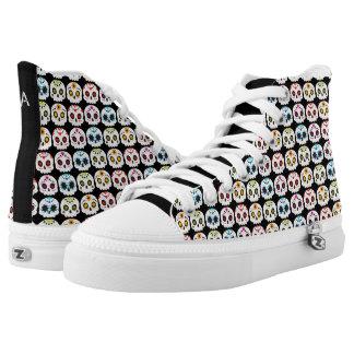 Regenbogen-Zuckerschädel Hoch-geschnittene Sneaker