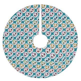 Regenbogen-Zuckerschädel Polyester Weihnachtsbaumdecke