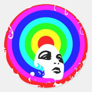 RegenbogenAfro Runder Sticker