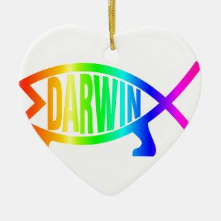 Regenbogendarwin-Fische Keramik Ornament