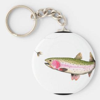 Regenbogenforelle-Fliegen-Fischen Schlüsselanhänger