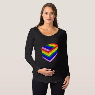 Regenbogenkasten langer Hülsen-MutterschaftsT - Schwangerschafts T-Shirt