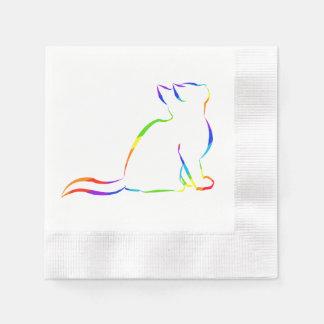 Regenbogenkatze, weiße Fülle Papierserviette