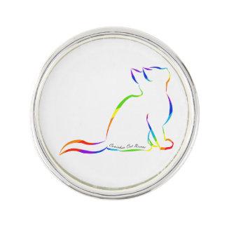 Regenbogenkatzen-Silhouette, innerer Text Anstecknadel