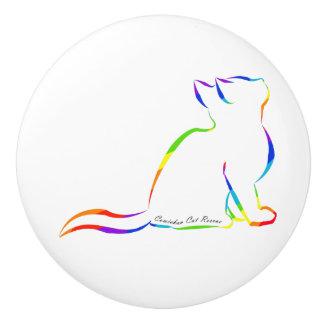 Regenbogenkatzen-Silhouette, innerer Text Keramikknauf