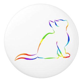 Regenbogenkatzen-Silhouette Keramikknauf