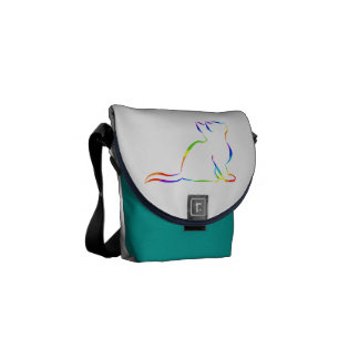 Regenbogenkatzen-Silhouette Kuriertasche