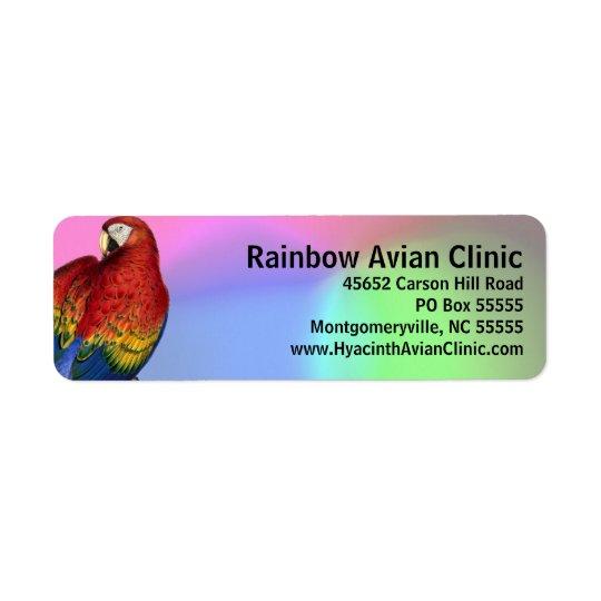 RegenbogenMacaw mit buntem Hintergrund Rücksendeetiketten