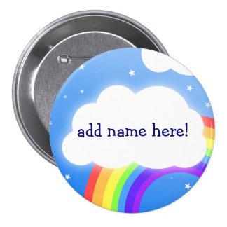 Regenbogenwolken-individueller Name - Knopf-Abzeic Runder Button 7,6 Cm