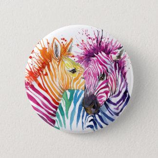 Regenbogenzebra-Knopf Runder Button 5,1 Cm