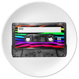RegenbogenZebra Stripes Kassetten-Aufkleber Teller Aus Porzellan