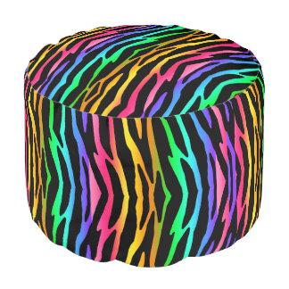 Regenbogenzebra-Tiermuster-Druck-jugendlich Hocker